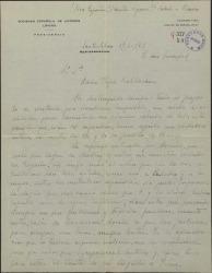 Carta de Federico Moreno Torroba a María Josefa Baldasano, esposa de Guillermo Fernández-Shaw, interesándose por la situación de toda la familia en el segundo año de la Guerra Civil.