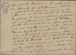 Carta de Amadeo Vives a Federico Romero, expresando su satisfacción por la última carta recibida de éste y haciendo comentarios sobre el negocio teatral del Teatro de la Zarzuela.