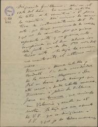 """Carta de Amadeo Vives a Guillermo Fernández-Shaw, con observaciones minuciosas para la copistería y pequeñas modificaciones en """"La villana""""."""