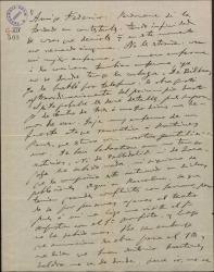 """Carta de Amadeo Vives a Federico Romero, sobre el estreno de """"La villana"""" en provincias y en Barcelona."""