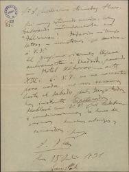 """Carta de Amadeo Vives a Guillermo Fernández-Shaw, diciéndole que está trabajando intensamente en """"Talismán""""."""