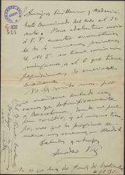 """Carta de Amadeo Vives a Guillermo Fernández-Shaw y Federico Romero, anunciando que ha terminado el primer acto de """"Talismán""""."""