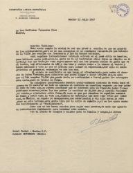 """Carta de Federico Moreno Torroba a Guillermo Fernández-Shaw, pidiéndole autorización para ceder los derechos de la obra """"Luisa Fernanda"""" para el cine."""