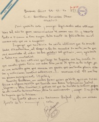 Carta de Francisco Balaguer a Guillermo Fernández-Shaw, acusando recibo de una suya en la que le anuncia el cobro de un premio.