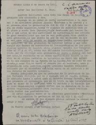 Carta de Francisco Balaguer a Guillermo Fernández-Shaw, hablando sobre el envío, desde Buenos Aires, para su audición de una grabación de varios números musicales.