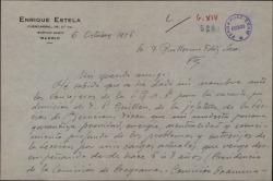 Carta de Enrique Estela a Guillermo Fernández-Shaw, sobre su posible nombramiento como consejero de la Sociedad General de Autores de España.
