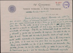 Carta de Manuel Parada a Guillermo y Rafael Fernández-Shaw, comentándoles que se encuentra enfermo en La Coruña y no sabe cuando regresará a Madrid.