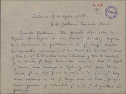 Carta de Ernesto Rosillo a Guillermo Fernández-Shaw, hablando de su colaboración en una obra sobre una leyenda etimológica de Alicante que ya tiene empezada.