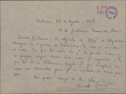"""Carta de Ernesto Rosillo a Guillermo Fernández-Shaw, enviándole el libro de """"Alycántare"""", obra en la que esperan colaborar, dándole carta blanca para cambiar todo lo que quiera e incluso escribirlo de nuevo si lo ve necesario."""