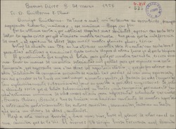Carta de Francisco Balaguer a Guillermo Fernández-Shaw, hablando sobre la crisis de la zarzuela.
