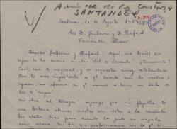 """Carta de Ernesto Rosillo a Guillermo y Rafael Fernández-Shaw, hablando de los trabajos en la obra """"Sol de Levante"""" y otros temas teatrales."""