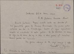 Carta de Ernesto Rosillo a Guillermo Fernández-Shaw, pidiéndole con urgencia el borrador prometido para la Comisión Permanente.