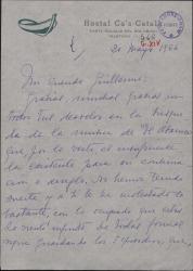 """Carta de Concha de Lladó a Guillermo Fernández-Shaw, agradeciendo su búsqueda de la música de """"El abanico"""", obra de su difunto esposo Amadeo Vives."""