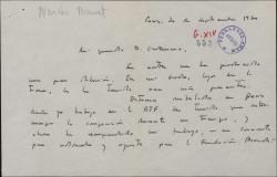 Carta de Narcis Bonet a Guillermo Fernández-Shaw, agradeciendo su carta.