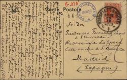 """Tarjeta postal de Manuel de Falla a Guillermo Fernández-Shaw, diciéndole que está en Bruselas para asistir a la representación de """"La vida breve""""."""