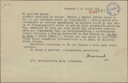 Carta de Manuel de Falla a Cecilia Iturralde, mandándole las señas de Max Eschig para que reanude su correspondencia con él.