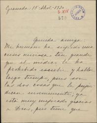 Carta de Carmen de Falla a Cecilia Iturralde, comunicándole la imposibilidad de escribir de su hermano por padecer una crisis nerviosa y dándole noticias en su nombre tanto personales como profesionales.