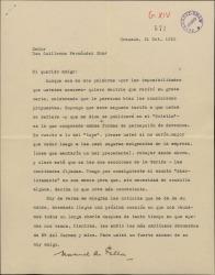 Carta de Manuel de Falla a Guillermo Fernández-Shaw, dejando en sus manos las negociaciones de las condiciones de un contrato que les incumbe a ambos.