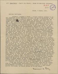 Carta de Manuel de Falla a Guillermo Fernández-Shaw, contándole su éxito y buena acogida en Barcelona y comentando la necesidad de reviar los contratos que tienen firmados con la casa Eschig dados los problemas que vienen teniendo.
