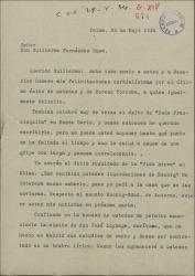 """Carta de Manuel de Falla a Guillermo Fernández-Shaw, felicitándole por sus éxitos y comentándole el éxito de """"La vida breve"""" en Milán aprovechando la carta para recomendarle a un barítono, José Loyzaga."""