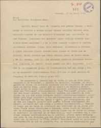 Carta de Manuel de Falla a Guillermo Fernández-Shaw, dando noticias personales, delegando en él su voto para una junta de la Sociedad de Autores de España y comentando su propósito de rehacer el contrato que tiene con la Casa Eschig.
