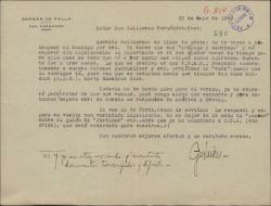 Carta de Germán de Falla a Guillermo Fernández-Shaw, sobre temas de la Sociedad General de Autores de España.
