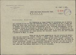 Carta de Germán de Falla a Casto Fernández-Shaw, saludándole, felicitándole por sus trabajos como arquitecto y contándole la marcha de sus proyectos.