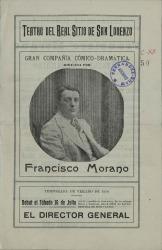 Programa de mano del Teatro del Real Sitio de San Lorenzo, con el repertorio de verano de la Compañía dirigida por Francisco Morano. (El Escorial)