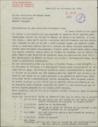 Carta de Luis Campodónico a Guillermo Fernández-Shaw, solicitando ayuda con diversos datos sobre las cartas de Manuel de Falla, con motivo de querer publicar un Epistolario de Manuel de Falla.
