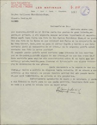 Carta de Luis Campodónico a Guillermo Fernández-Shaw, solicitando una foto de D. Carlos Fernández Shaw de la época en que colaboró con Manuel de Falla.
