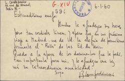 Tarjeta de Luis Campodónico a Guillermo Fernández-Shaw, agradeciéndole su amabilidad y esperando recibir la documentación que le solicitó.