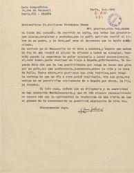Carta de Luis Campodónico a Guillermo Fernández-Shaw, agradeciéndole la ayuda prestada y la documentación enviada y anunciándole que ya ha terminado su libro sobre Manuel de Falla que espera se publique pronto.