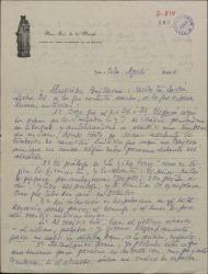 """Carta de Eduardo Portillo a Guillermo Fernández-Shaw, comunicándole su próxima salida de prisión y diciéndole que el prólogo de """"La vida breve"""" lo cobre él ya que es suyo."""