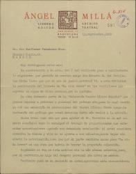 """Carta de Ángel Millá, editor, a Guillermo Fernández-Shaw, sobre la publicación de un libreto de """"La vida breve""""."""
