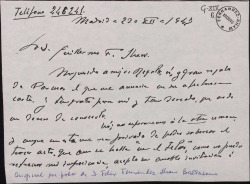 Carta de Conrado del Campo a Guillermo Fernández-Shaw, aceptando su invitación para ir a escuchar la lectura de una obra.