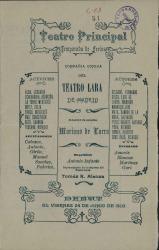 Programa de mano del Teatro Principal con el repertorio de la Compañía del Teatro Lara de Madrid para la Temporada de Ferias. (Madrid)