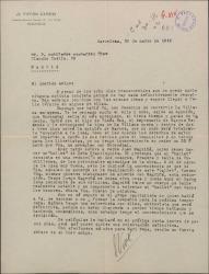 """Carta de José Vives a Guillermo Fernández-Shaw, comentando la posibilidad de convertir """"La villana"""" en una ópera y """"Doña Francisquita"""" en un ballet."""
