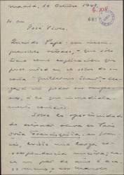 """Carta de Guillermo Fernández-Shaw a José Vives, comentando dudas sobre el contrato para el estreno de """"Doña Francisquita"""", en francés, en París."""