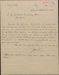 Carta de José Vives a Guillermo Fernández-Shaw, felicitándole por el nombramiento como Consejero de la Sociedad General de Autores de España.