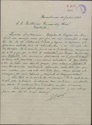 Carta de José Vives a Guillermo Fernández-Shaw, sobre el próximo abono del resto de los derechos por parte de Valencia Films