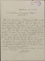 Carta de José Vives a Guillermo Fernández-Shaw, comunicándole la próxima celebración de un homenaje a su padre Amadeo Vives.