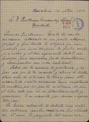 """Carta de José Vives a Guillermo Fernández-Shaw, contándole sus ideas para una nueva zarzuela a la que llama """"La nieta del Barberillo""""."""