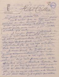 Carta de Ernesto Lecuona a Guillermo Fernández-Shaw, haciéndole diversos encargos en relación con la Sociedad General de Autores de España.