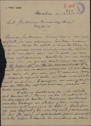 """Carta de José Vives a Guillermo Fernández-Shaw, comentando varios temas sobre """"La nieta del barberillo""""."""