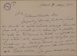 """Carta de Conrado del Campo a Guillermo Fernández-Shaw, expresando su interés por colaborar con él en la obra """"El Demonio de Isabela"""" que piensa presentar a un concurso."""