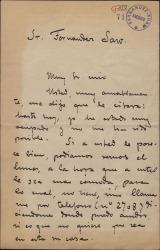 Carta de Rafael Benedito a Guillermo Fernández-Shaw, pidiéndole una entrevista para una posible colaboración.