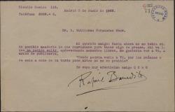 Carta de Rafael Benedito a Guillermo Fernández-Shaw, enviándole unos escritos y pidiendo verle antes de publicarlos.