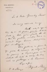 Cartas de Miguel Mir a Carlos Fernández Shaw.