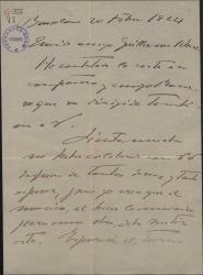 Carta de Enric Morera a Guillermo Fernández-Shaw, lamentando no poder colaborar en una obra de éste.