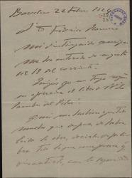 Carta de Enric Morera a Guillermo Fernández-Shaw, diciéndole que no va a colaborar con él en una obra suya.